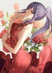 1girl bang_dream! bare_arms bare_shoulders blush breasts collarbone commentary_request dress fingernails flower gambe grey_background hands_up leaning_back long_hair looking_at_viewer looking_to_the_side parted_lips petals ponytail purple_hair red_dress red_eyes red_flower red_rose rose rose_petals seta_kaoru sleeveless sleeveless_dress small_breasts solo very_long_hair