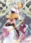 3girls arm_warmers artist_request beret blonde_hair boots bow breasts drill_hair hair_bow hat high_heel_boots high_heels highres hood long_hair looking_at_viewer magia_record:_mahou_shoujo_madoka_magica_gaiden mahou_shoujo_madoka_magica miniskirt multiple_girls pink_hair polearm red_hair sakura_kyouko skirt spear tamaki_iroha thighhighs tomoe_mami twintails watermark weapon