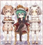 3girls bird_tail bird_wings black_hair blonde_hair blue_eyes blush brown_hair coat commentary_request crossed_legs crown elbow_gloves eurasian_eagle_owl_(kemono_friends) eyebrows_visible_through_hair food full_body fur_collar gloves green_hair grey_hair hand_on_own_knee hand_up hat_feather head_wings helmet highres jacket kaban_(kemono_friends) kemono_friends kolshica legwear_under_shorts long_sleeves multicolored_hair multiple_girls no_shoes northern_white-faced_owl_(kemono_friends) owl_ears pantyhose pith_helmet short_hair short_sleeves shorts sitting spoilers standing throne tray wings yellow_eyes