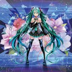 1girl aqua_eyes boots detached_sleeves flower hatsune_miku highres long_hair microphone miniskirt necktie settyaro skirt solo tattoo thigh_boots thighhighs twintails very_long_hair vocaloid