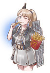 1girl ;) belt belt_buckle belt_pouch black_jacket blue_background blue_eyes blush breasts brown_hair buckle closed_mouth collared_dress cropped_jacket cropped_legs dress flight_deck food french_fries gradient gradient_background grey_dress grey_neckwear hair_tie highres holding holding_food intrepid_(kantai_collection) jacket kantai_collection karasu_(naoshow357) lips long_hair looking_at_viewer mcdonald's medium_breasts neckerchief one_eye_closed outstretched_arm ponytail shiny shiny_hair short_sleeves smile solo standing