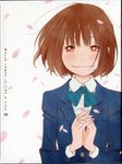 1girl absurdres blazer blue_bow blue_neckwear blush bow bowtie brown_eyes brown_hair closed_mouth copyright_name cover dress_shirt dvd_cover fingernails highres huge_filesize interlocked_fingers jacket kawamoto_hinata long_sleeves official_art own_hands_together petals sangatsu_no_lion scan scan_artifacts school_uniform shirt short_hair smile solo source_request upper_body white_background white_shirt wind wing_collar