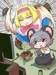 2girls :d alice_margatroid animal_ears blonde_hair blush boots cookie_(touhou) cross-laced_footwear cup dress food frilled_dress frills green_tea grey_hair headband lace-up_boots mouse_ears mouse_tail multiple_girls nazrin nintendo nintendo_switch open_mouth pillow red_eyes smile spilled spinning sweat syowahoka tail tatami tea teacup television touhou
