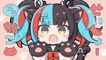 1girl :o angeltype animal_ear_fluff animal_ears aqua_hair bangs black_eyes black_hair black_ribbon black_sailor_collar black_serafuku blunt_bangs blush_stickers bow bowtie cat_ears cat_paws chibi commentary_request eyebrows_visible_through_hair fang fate/grand_order fate_(series) hair_ribbon hands_up kemonomimi_mode looking_at_viewer multicolored_hair paw_background paws pink_background red_hair red_neckwear ribbon sailor_collar school_uniform sei_shounagon_(fate) serafuku sidelocks skin_fang solo speech_bubble tail tail_ribbon translation_request twintails two-tone_ribbon upper_body white_ribbon