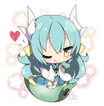 1girl ;q bangs blue_kimono blush breasts chibi closed_mouth commentary_request dragon_horns eyebrows_visible_through_hair fate/grand_order fate_(series) floral_background green_hair hair_between_eyes heart holding horns japanese_clothes kimono kiyohime_(fate/grand_order) kneeling long_hair long_sleeves medium_breasts milkpanda obi one_eye_closed sash smile solo thighhighs tongue tongue_out very_long_hair white_background white_legwear wide_sleeves yellow_eyes