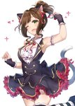 1girl animal_ears arm_garter bangs bare_shoulders bell black_dress blush breasts brown_hair cat_ears cat_tail cleavage commentary_request dress fang frills green_eyes hair_ribbon heart highres idolmaster idolmaster_cinderella_girls jingle_bell large_breasts leg_up looking_at_viewer maekawa_miku one_eye_closed open_mouth ponytail red_ribbon ribbon short_hair simple_background smile solo sparkle striped striped_legwear tail takeashiro thighs white_background wrist_cuffs