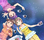 3girls :d bangle bow bracelet braid brown_eyes brown_hair coffee coffee_mug cup doughnut dress floral_print food green_eyes hair_bobbles hair_bow hair_ornament head_to_head jewelry kashiwagi_sumika kujou_ume mug multiple_girls open_mouth orange_hoodie outstretched_arm pastry_box photo_(object) pink_shirt pointing purple_dress purple_hair red_eyes saeki_hina shirt short_hair shorts sleeveless sleeveless_dress sleeveless_shirt smile star starry_background steam tokyo_7th_sisters twin_braids wanibuchi_emoko yellow_shirt yellow_shorts