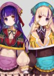2girls apron bangs black_gloves blonde_hair blunt_bangs blush brown_eyes buttons cowboy_shot dress eyebrows_visible_through_hair gloves grey_background hair_ribbon head_scarf head_tilt heterochromia holding_hands long_sleeves looking_at_viewer mika_pikazo multicolored_hair multiple_girls neck_ribbon original purple_eyes purple_hair ribbon side-by-side simple_background symmetrical_pose tareme white_gloves