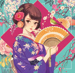 1girl bangs bird brown_eyes brown_hair camellia cherry_blossoms chrysanthemum fan finger_to_mouth floral_background floral_print flower folding_fan hair_flower hair_ornament hairclip holding holding_fan iris_(flower) japanese_clothes japanese_white-eye kimono leaf_print lipstick looking_at_viewer makeup matsuo_hiromi obi orange_flower orange_rose original plum_blossoms purple_kimono red_lips rose sash solo tassel updo upper_body wisteria