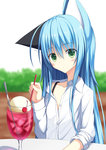 1girl animal_ears blue_hair cat_ears cherry closed_mouth commentary_request cup drinking_glass drinking_straw eyebrows_visible_through_hair food fruit green_eyes highres holding ice ice_cream ice_cream_float kurimu_(crim_soda) long_hair looking_at_viewer original shirt soda spoon tail white_shirt wine_glass