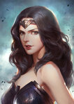 1girl :d >:d armpits bare_shoulders black_hair breastplate cdash817 circlet collarbone dc_comics lips long_hair looking_at_viewer open_mouth orange_eyes portrait smile solo strapless upper_body wonder_woman wonder_woman_(series)