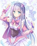 1girl atelier_(series) atelier_lulua blue_eyes bow bowtie closed_mouth corset cowboy_shot elmerulia_fryxell frills grey_hair hair_ornament heart heart_hair_ornament hoshino_koucha long_hair looking_at_viewer pink_bow skirt smile snowflakes solo standing star white_background white_skirt