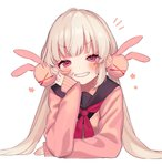 1girl >_< artist_request bangs black_sailor_collar blonde_hair blush bunny_hair_ornament chin_rest grin hair_ornament highres looking_at_viewer natori_sana neckerchief no_headwear notice_lines pink_eyes pink_sweater red_neckwear sailor_collar sana_channel simple_background smile solo sweater twintails upper_body virtual_youtuber white_background