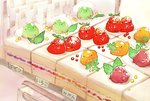 bird cake chai check_commentary check_translation commentary_request cream dessert food fruit grapes highres leaf looking_at_viewer melon multiple_others no_humans orange original raspberry sitting_on_food strawberry strawberry_shortcake translation_request