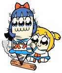 2girls :3 bangs bkub blue_eyes blue_hair blue_sailor_collar blue_skirt bow brown_footwear commentary eyebrows_visible_through_hair hair_bow hair_ornament hair_scrunchie long_hair motion_lines multiple_girls neckerchief orange_hair pipimi poptepipic popuko red_bow red_neckwear sailor_collar school_uniform scrunchie serafuku shoes short_hair short_twintails sidelocks simple_background sitting sitting_on_ground skirt smoke spinning twintails two_side_up white_background wood yellow_eyes yellow_scrunchie