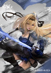1girl armor battle blonde_hair blue_eyes boots breasts cleavage commentary_request dual_wielding feathers fighting_stance flag flower gauntlets gloves glowing glowing_sword glowing_weapon granblue_fantasy hair_feathers hair_flower hair_intakes hair_ornament hairband holding holding_flag holding_sword holding_weapon jeanne_d'arc_(granblue_fantasy) long_hair medium_breasts para00 skirt sword thigh_boots thighhighs thighs weapon