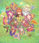 4girls 6+boys angela_(seiken_densetsu_3) armor artist_request blonde_hair blue_eyes breasts capelet charlotte_(seiken_densetsu_3) cleavage crossover downblouse dryad_(seiken_densetsu) facepaint fisheye from_above gnome_(seiken_densetsu) green_eyes grin hands_clasped headband heroine_(seiken_densetsu_1) highres jinn_(seiken_densetsu) kevin long_hair looking_up luna_(seiken_densetsu) multiple_boys multiple_crossover multiple_girls official_art orange_hair outstretched_hand pink_hair pointy_ears popoie purim randi riesz salamander_(seiken_densetsu) seed seiken_densetsu seiken_densetsu_1 seiken_densetsu_2 seiken_densetsu_3 shade_(seiken_densetsu) shield small_breasts smile spiked_hair square_enix undine_(seiken_densetsu) will-o'-wisp_(seiken_densetsu)