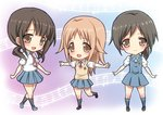 3girls black_hair blush brown_hair legs long_hair looking_at_viewer miyamoto_konatsu multiple_girls musical_note necktie okita_sawa open_mouth orange_eyes rokko sakai_wakana school_uniform short_hair skirt smile socks sweater_vest tari_tari