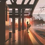 1girl bag black_footwear building commentary earbuds earphones from_side highres holding holding_bag holding_phone long_hair morning original outdoors overhead_line phone pillar power_lines railroad_tracks scenery snatti sunrise train_station