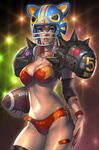 1girl animal_ears animal_helmet bad_id bandaid bikini black_legwear blue_eyes brand_name_imitation breasts cleavage fake_animal_ears football football_(object) football_helmet hand_on_hip helmet jewelry kilart lips national_football_league navel necklace orange_hair original shoulder_pads side-tie_bikini solo spikes strap_gap swimsuit thighhighs wristband