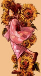1girl bad_id brown_hair flower fuu highres japanese_clothes jeon9018 kimono ponytail samurai_champloo solo sunflower