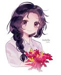 1girl black_hair blush braid chachaitea09 character_name closed_mouth eyes_visible_through_hair flower grey_eyes holding holding_flower isabella_(yakusoku_no_neverland) looking_at_viewer neck_tattoo red_flower shirt simple_background smile solo tattoo tears white_background yakusoku_no_neverland yellow_flower