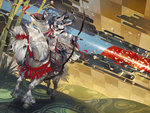 1girl arrow bow_(weapon) furry hat horse japanese_clothes murayama_ryouta original solo weapon