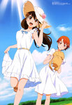 2girls :d absurdres brown_eyes brown_hair cloud day dress hand_on_headwear hat hat_removed headwear_removed highres holding holding_hat inami_mahiru leg_lift legs long_hair megami multiple_girls official_art open_mouth orange_eyes orange_hair ponytail sandals short_hair sky smile straw_hat sun_hat sundress tanabe_kenji taneshima_popura working!!