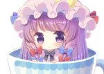 1girl :< black_bow black_neckwear blue_bow bow bowtie chibi closed_mouth crescent crescent_moon_pin cup eyebrows_visible_through_hair eyelashes hair_bow hat in_container in_cup kagome_f long_hair looking_at_viewer low-tied_long_hair minigirl mob_cap patchouli_knowledge pink_hat purple_eyes purple_hair red_bow shiny shiny_hair simple_background solo tareme teacup touhou upper_body very_long_hair white_background