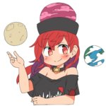 1girl blush collar earth_(ornament) hecatia_lapislazuli ini_(inunabe00) moon_(ornament) off-shoulder_shirt polos_crown red_eyes red_hair shirt smile solo t-shirt touhou