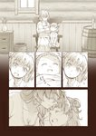 baby barrel braid chair comic double_bun flashback flower forehead_kiss kiss maria_cadenzavna_eve monochrome mother_and_daughter rocking_chair senki_zesshou_symphogear serena_cadenzavna_eve siblings sisters smile ueyasu younger