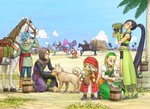 bead_necklace beads blonde_hair blue_eyes blue_hair blue_sky bracelet braid brown_hair bucket camus_(dq11) cloud dog dragon_quest dragon_quest_xi dress drinking earrings facial_hair fingerless_gloves gloves grass green_footwear greig_(dq11) hairband hat hero_(dq11) highres horse horseback_riding jewelry kneeling long_hair martina_(dq11) mustache necklace palm_tree ponytail puffy_sleeves purple_eyes red_headwear riding row_(dq11) senya_(dq11) shinobibe_himika short_shorts shorts sky spiked_hair sylvia_(dq11) tree twin_braids veronica_(dq11) white_hair