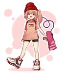 1girl :p alternate_costume bangs bare_legs beanie black_shorts blonde_hair clothes_writing commentary contemporary english_commentary eyebrows_visible_through_hair flandre_scarlet full_body gun hair_between_eyes hat highres holding holding_gun holding_weapon ink_tank_(splatoon) long_hair looking_at_viewer orange_shirt outline pointy_ears red_eyes red_hat shirt shoes short_shorts short_sleeves shorts side_ponytail simple_background smile sneakers solo splatoon standing standing_on_one_leg t-shirt thighs tongue tongue_out touhou translation_request weapon white_background white_footwear white_outline yoruny