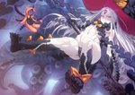 1girl abigail_williams_(fate/grand_order) absurdres aya_shobon bangs black_bow black_gloves black_panties bow fate/grand_order fate_(series) feet flat_chest floating_hair gloves grey_hair hat hat_bow highres holding_key huge_filesize keyhole long_hair looking_at_viewer navel orange_bow oversized_object paid_reward pale_skin panties parted_bangs patreon_reward pink_eyes print_bow revealing_clothes smile solo third_eye toned underwear very_long_hair witch_hat
