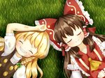 2girls ^_^ bare_shoulders blonde_hair bow braid brown_hair closed_eyes detached_sleeves dirty dirty_clothes dirty_face frilled_shirt_collar frilled_sleeves frills grass grin hair_bow hair_ribbon hair_tubes hakurei_reimu kirisame_marisa large_bow long_hair lying multiple_girls natsune_ilasuto no_hat no_headwear on_back puffy_short_sleeves puffy_sleeves ribbon scratches short_sleeves side_braid single_braid smile touhou turtleneck vest wide_sleeves