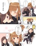 ... 2girls arm_up bangs beatrice_(princess_principal) black_bow black_dress black_jacket black_neckwear blunt_bangs blush bow bowtie breasts brown_eyes brown_hair chair chair_tipping closed_eyes closed_mouth comic covered_mouth cropped_jacket dorothy_(princess_principal) double_bun dress embarrassed eyebrows_visible_through_hair hair_over_one_eye highres jacket long_hair long_sleeves multiple_girls nose_blush on_chair open_clothes open_jacket open_mouth princess_principal purple_eyes school_uniform shiny shiny_hair shirt side_bun sitting sleeping smile sorimachi-doufu speech_bubble spoken_ellipsis standing sweat translated very_long_hair waking_up white_shirt wide-eyed yuri ||_||