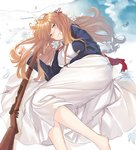 1girl american_flag american_flag_print arm_across_waist bangs barefoot blazer blush bolt_action breasts brown_hair dhfz181 dress feathers flag_print flower girls_frontline gloves green_eyes gun hair_between_eyes hair_ribbon hair_rings half-closed_eyes holding holding_weapon jacket large_breasts long_hair long_sleeves looking_at_viewer lying m1903_springfield m1903_springfield_(girls_frontline) multiple_girls on_side open_mouth ponytail red_neckwear ribbon rifle shirt sidelocks skirt smile solo weapon white_dress