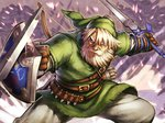 1boy arrow battle beard belt blonde_hair blue_eyes bow_(weapon) facial_hair hat knife link male manly master_sword old pointy_ears quiver revision scar shield sparks sword the_legend_of_zelda throwing_knife weapon yapo