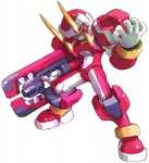 1boy android clenched_teeth fafnir fighting_stance full_body gun holding holding_weapon horns legs_apart looking_at_viewer male_focus nakayama_tooru official_art red_eyes rockman rockman_zero simple_background solo standing teeth weapon white_background