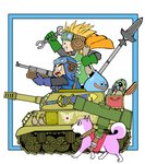 1girl 2boys animal blonde_hair blue_gloves commentary_request dog dragon_quest dragon_quest_ii gloves goggles ground_vehicle m4_sherman metal_max military military_vehicle momonoky motor_vehicle multiple_boys outside_border parody pilot_helmet polearm prince_of_lorasia prince_of_samantoria princess_of_moonbrook shiba_inu short_hair slime_(dragon_quest) spear spiked_hair style_parody sword tank treasure_chest walking weapon