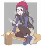 1girl :d ankle_boots arm_support bangs beanie black-framed_eyewear black_jacket black_legwear blue_footwear blue_shirt blunt_bangs boots breath brown_eyes collared_shirt commentary cross-laced_footwear cup fire full_body glasses hat holding holding_cup hood hooded_jacket hoodie ina_(gokihoihoi) jacket lace-up_boots layered_clothing leaning_to_the_side long_hair long_sleeves looking_at_viewer nike oogaki_chiaki open_mouth outside_border over-rim_eyewear pantyhose pink_hat purple_hair semi-rimless_eyewear shadow shirt sitting sleeveless_jacket smile solo steam yurucamp