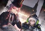 2girls aek-999_(girls_frontline) alternate_costume badge bangs black_jacket black_neckwear blush bow braid buttons cigar city_lights cityscape clothes_writing collared_shirt commentary_request girls_frontline gloves grey_hair hair_ornament hair_over_shoulder hairclip hat headphones headphones_around_neck heiwari_kanade hexagram holding holding_cigar hood hooded_jacket jacket key leaning_on_object light long_hair looking_at_viewer multiple_girls necktie negev_(girls_frontline) newspaper night open_clothes open_jacket parted_lips pink_hair rain red_bow red_eyes shirt sidelocks signature silver_hair smile star_of_david striped striped_shirt swirling top_hat vest white_gloves white_shirt yellow_eyes