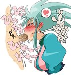1boy 1girl blue_hair blush commentary_request cum cum_in_mouth earrings fellatio hetero jewelry long_hair noumiso oral penis ryouko_(tenchi_muyou!) simple_background solo_focus spiked_hair sweat tenchi_muyou! testicles translation_request uncensored white_background yellow_eyes