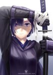 1girl black_gloves cape commentary_request copyright_name dirty_face glint gloves highres holding holding_sword holding_weapon inna_the_queen_of_the_ruined_country katana pixiv_fantasia pixiv_fantasia_last_saga purple_eyes purple_hair sheath short_hair solo sweat sword unsheathing upper_body weapon yukimarunisiki