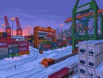 blue_sky building city container crane forklift ground_vehicle kldpxl lamppost motor_vehicle no_humans original outdoors pixel_art road sky skyscraper snow traffic_light truck vehicle