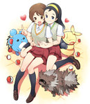 2girls black_hair black_legwear blue_eyes brown_eyes brown_hair grin hair_ornament hairband hairclip heart highres hug hug_from_behind kneehighs loafers long_hair looking_at_viewer makuhita marill multiple_girls npc poke_ball pokemon pokemon_(game) pokemon_oras red_skirt school_uniform shoes short_hair sitting skirt smile sweater_vest teammates_(pokemon) tm_(hanamakisan) v wariza zigzagoon