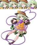 1girl :d :o alphes_(style) bangs black_hat bow brown_legwear closed_eyes closed_mouth commentary_request dairi eyebrows_visible_through_hair floral_print full_body green_eyes green_hair green_skirt hair_between_eyes hat hat_bow highres komeiji_koishi long_sleeves looking_at_viewer multiple_views no_hat no_headwear no_shoes open_mouth parody print_skirt skirt smile socks style_parody sweat tachi-e third_eye touhou transparent_background yellow_bow