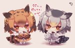 2girls bangs bird_tail black_hair blush brown_coat brown_eyes brown_hair chibi coat commentary_request covered_mouth curry curry_rice eurasian_eagle_owl_(kemono_friends) eyebrows_visible_through_hair food fur_collar gradient_hair grey_coat hair_between_eyes head_wings highres holding holding_plate jitome kemono_friends long_sleeves looking_at_viewer multicolored_hair multiple_girls muuran no_shoes northern_white-faced_owl_(kemono_friends) orange_hair pantyhose plate rice signature silver_hair sleeves_past_fingers sleeves_past_wrists standing translation_request white_legwear