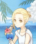 1girl alternate_costume alternate_hairstyle bikini bikini_under_clothes blonde_hair closed_mouth cloud cloudy_sky collarbone commentary_request cup day drinking_glass drinking_straw elaine flower food fruit hibiscus holding holding_cup lemon lemon_slice looking_at_viewer nanatsu_no_taizai ocean outdoors red_flower shirt short_hair short_ponytail short_sleeves sky smile solo swimsuit t-shirt tropical_drink white_shirt yellow_eyes