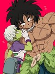 1boy 1girl :o abs arm_at_side armor belt black_eyes black_hair bodysuit breasts broly_(dragon_ball_super) cheelai chest_scar clothes_around_waist covering covering_mouth cowboy_shot dark_skin dark_skinned_male dirty dirty_clothes dirty_face dragon_ball dragon_ball_super_broly expressionless eyelashes fanny_pack gloves green_skin hand_up jewelry leaning leaning_to_the_side looking_to_the_side medium_breasts muscle necklace nipples outsuki parted_lips pink_background profile purple_bodysuit purple_eyes scar shirtless short_hair sideboob simple_background spiked_hair standing whispering white_gloves white_hair
